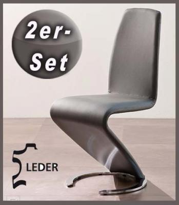 neu 2er set design freischwinger echt leder grau schwingstuhl edelstahl finish ebay. Black Bedroom Furniture Sets. Home Design Ideas