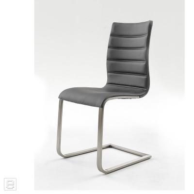 top 2x freischwinger leder grau 2er set esszimmerstuhl edelstahl schwingstuhl ebay. Black Bedroom Furniture Sets. Home Design Ideas