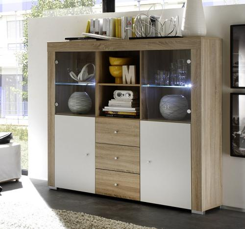 wow highboard in sonoma eiche weiss led sideboard buffet esszimmerschrank ebay. Black Bedroom Furniture Sets. Home Design Ideas