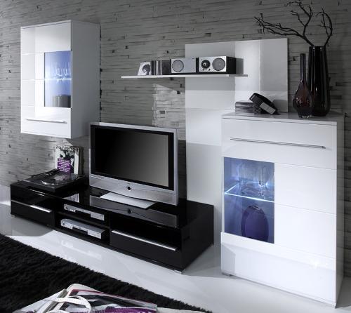 Top design anbauwand wohnwand hochglanz lack wei schwarz for Anbauwand schwarz