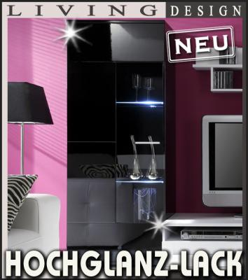 neu design vitrine hochglanz lack schwarz standvitrine vitrinenschrank re li ebay. Black Bedroom Furniture Sets. Home Design Ideas