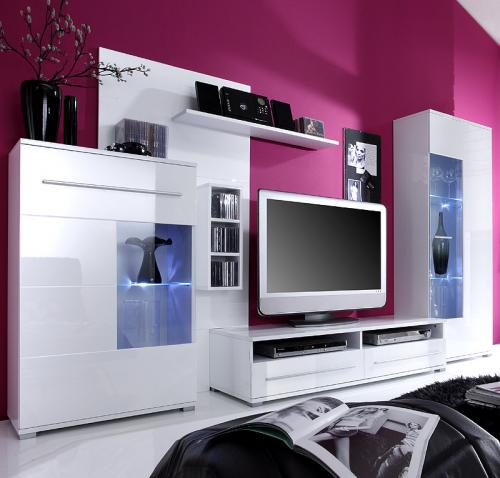 top hochglanz wohnwand in lack wei cd regal schrankwand lowboard vitrine neu ebay. Black Bedroom Furniture Sets. Home Design Ideas