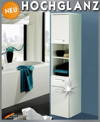 neu hochschrank hochglanz weiss badm bel badezimmer bad midischrank softeinzug ebay. Black Bedroom Furniture Sets. Home Design Ideas