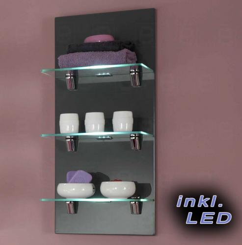 top badezimmer wandregal bad regal in hochglanz grau mit led beleuchtung neu ebay. Black Bedroom Furniture Sets. Home Design Ideas