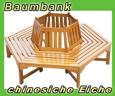 neu baumbank gartenbank garten bank gartenm bel eiche lackiert 152cm rundbank ebay. Black Bedroom Furniture Sets. Home Design Ideas