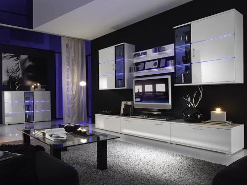top design wohnwand hochglanz wei mit highboard led anbauwand glasvitrine ebay. Black Bedroom Furniture Sets. Home Design Ideas