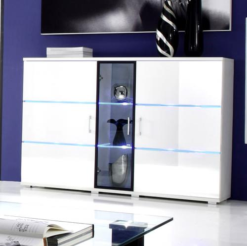 top design sideboard in hochglanz wei mit wei en led anrichte kommode vitrine ebay. Black Bedroom Furniture Sets. Home Design Ideas