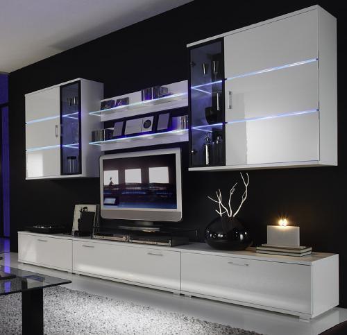 *TOP* Wohnwand Hochglanz weiß mit weißer LED Anbauwand ...