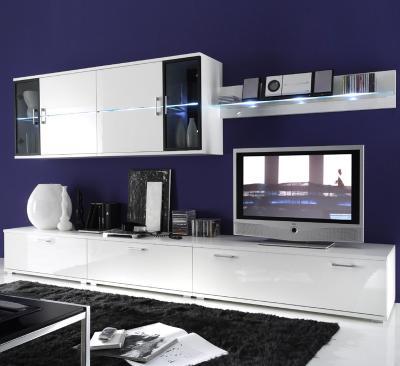top design wohnwand in hochglanz wei mt wei er led anbauwand glasvitrine neu ebay. Black Bedroom Furniture Sets. Home Design Ideas