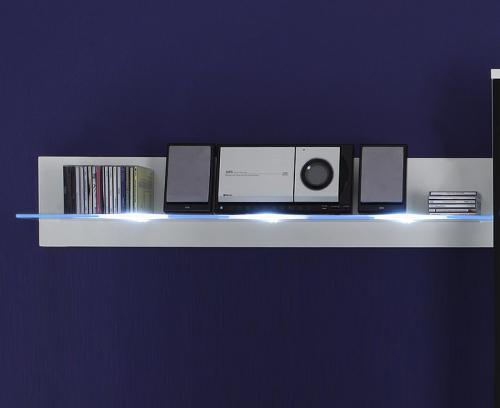 design wandboard in wei mit led blau wohnwand wandregal glasregal regal ebay. Black Bedroom Furniture Sets. Home Design Ideas