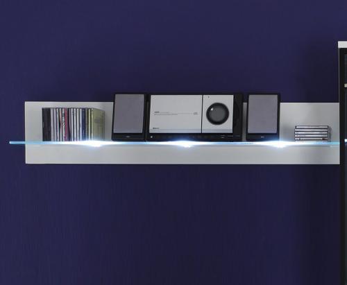 top wei es design wandboard mit wei er led wohnwand wandregal glasregal regal ebay. Black Bedroom Furniture Sets. Home Design Ideas