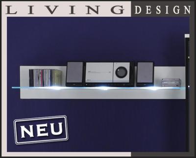 neu design wandboard in wei mit led wei wohnwand wandregal glasregal regal ebay. Black Bedroom Furniture Sets. Home Design Ideas