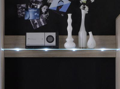 top led design wandboard eiche sonoma nb wohnwand wandregal glasregal neu ebay. Black Bedroom Furniture Sets. Home Design Ideas