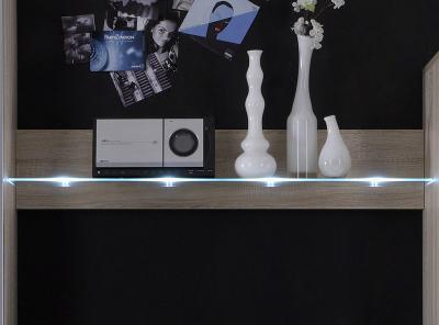top led design wandboard eiche sonoma nb wohnwand wandregal glasregal neu ebay. Black Bedroom Furniture Sets. Home Design Ideas