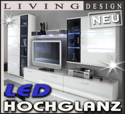 neu design led wohnwand hochglanz wei anbauwand schrankwand lowboard vitrine. Black Bedroom Furniture Sets. Home Design Ideas