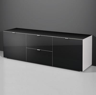 top modernes lowboard sideboard kommode glasfront glasauflage in schwarz neu ebay. Black Bedroom Furniture Sets. Home Design Ideas