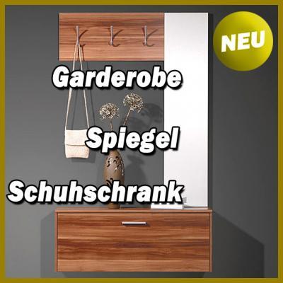 neu kompakt garderobe flurgarderobe in walnuss flurm bel schuhschrank spiegel ebay. Black Bedroom Furniture Sets. Home Design Ideas