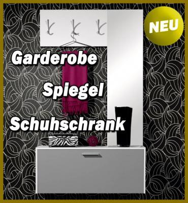 neu kompakt garderobe flurgarderobe wei grau flurm bel schuhschrank spiegel ebay. Black Bedroom Furniture Sets. Home Design Ideas