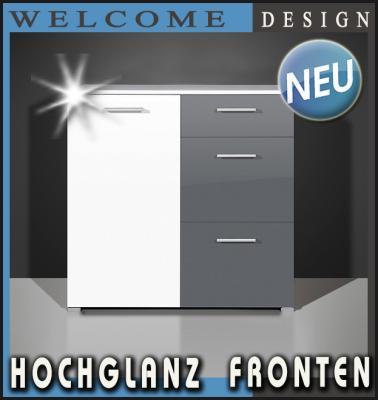 neu design kommode hochglanz wei grau anrichte sideboard mehrzweckschrank ebay. Black Bedroom Furniture Sets. Home Design Ideas
