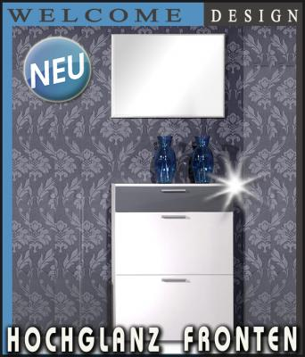 neu 2tlg hochglanz garderobe garderobenset flurm bel schuhschrank wei grau ebay. Black Bedroom Furniture Sets. Home Design Ideas