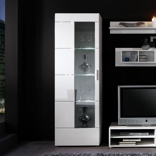top led standvitrine in hochglanz wei vitrine highboard swarovski elements ebay. Black Bedroom Furniture Sets. Home Design Ideas