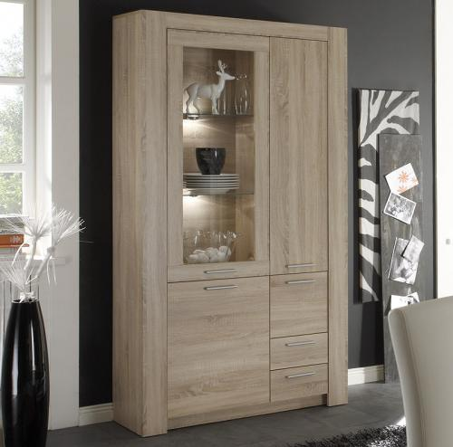 top design standvitrine sonoma eiche dekor vitrine highboard vitrinenschrank. Black Bedroom Furniture Sets. Home Design Ideas
