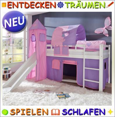 Kinderzimmer hochbett komplett  TOP* Komplett Hochbett Set Kinderzimmer Buche weiß Schloss Design ...
