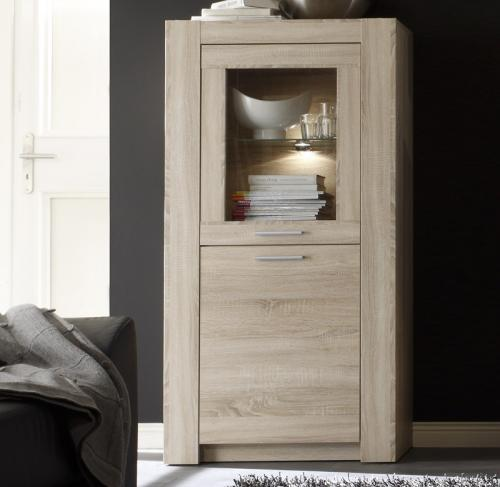 top design standvitrine in sonoma eiche nb glasvitrine vitrinenschrank neu ebay. Black Bedroom Furniture Sets. Home Design Ideas