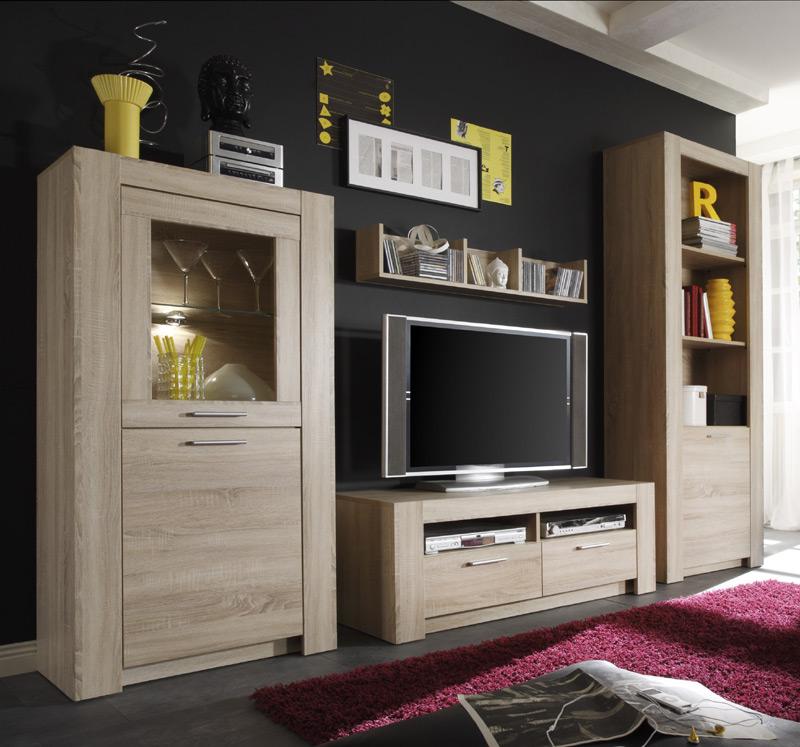 neu 4tlg wohnwand schrankwand anbauwand sonoma eiche dekor lowboard vitrine ebay. Black Bedroom Furniture Sets. Home Design Ideas