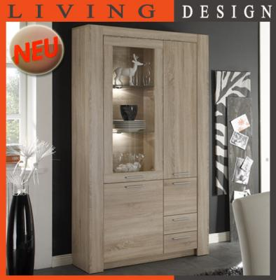 neu moderne standvitrine sonoma eiche dekor vitrine. Black Bedroom Furniture Sets. Home Design Ideas