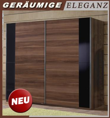 neu 179cm schlafzimmer schwebet renschrank nussbaum glas schwarz kleiderschrank ebay. Black Bedroom Furniture Sets. Home Design Ideas