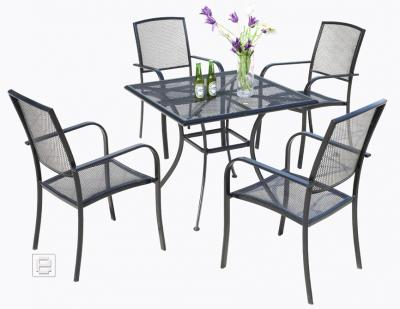 top 5 tlg tischgruppe sitzgruppe gartenm bel set gartentisch metall neu ebay. Black Bedroom Furniture Sets. Home Design Ideas
