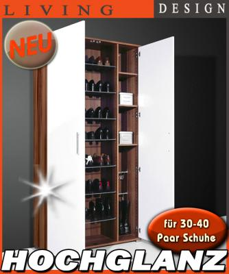neu mega schuhschrank hochglanz wei 30 40 paar flurschrank mehrzweckschrank ebay. Black Bedroom Furniture Sets. Home Design Ideas