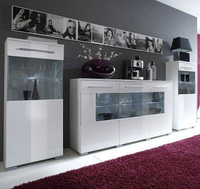 top design vitrinen set mit sideboard hochglanz wei. Black Bedroom Furniture Sets. Home Design Ideas