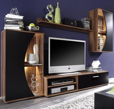wow wohnwand schrankwand anbauwand nussbaum schwarz. Black Bedroom Furniture Sets. Home Design Ideas