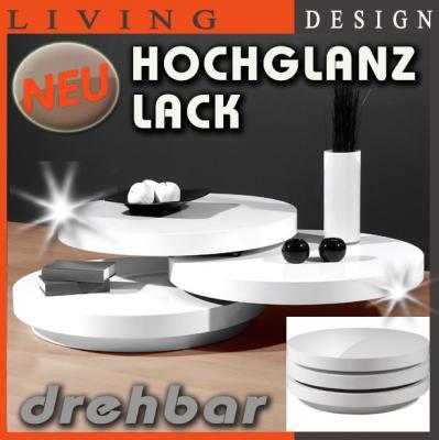 Neu design couchtisch hochglanz wei lack drehbar for Design couchtisch organic ii hochglanz lack weiss