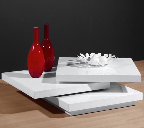 Neu design couchtisch hochglanz wei lack drehbar for Design wohnzimmertisch hochglanz