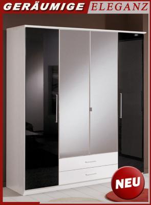 Kleiderschrank weiß schwarz hochglanz  NEU* 180cm Schlafzimmer Kleiderschrank Glanz schwarz - weiß ...
