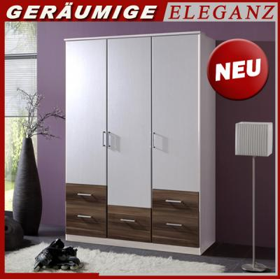 neu kleiderschrank schlafzimmerschrank 3 t rig 135 cm breit alpinwei nussbaum ebay. Black Bedroom Furniture Sets. Home Design Ideas