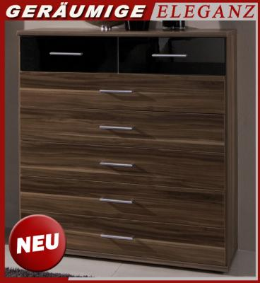 neu kommode anrichte sideboard nussbaum hochglanz schwarz schubkastenkommode ebay. Black Bedroom Furniture Sets. Home Design Ideas