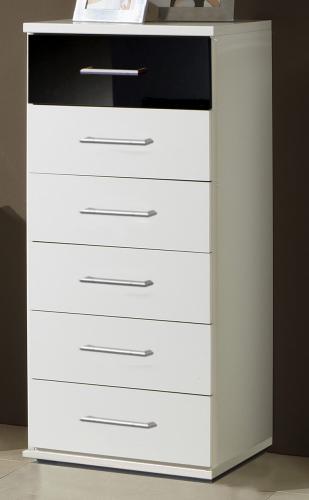 neu kommode in hochglanz wei schwarz anrichte sideboard schubkastenkommode ebay. Black Bedroom Furniture Sets. Home Design Ideas