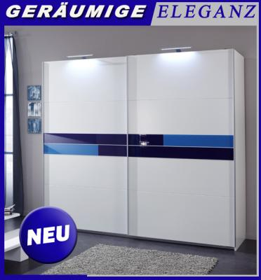 neu schwebet renschrank kleiderschrank 225cm breit alpinwei m glasabsetzungen ebay. Black Bedroom Furniture Sets. Home Design Ideas