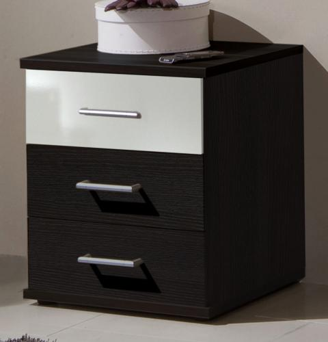 neu nachttisch kommode in wenge hochglanz weiss. Black Bedroom Furniture Sets. Home Design Ideas