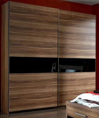 top schwebet renschrank schlafzimmerschrank 250cm breit nussbaum glas schwarz ebay. Black Bedroom Furniture Sets. Home Design Ideas