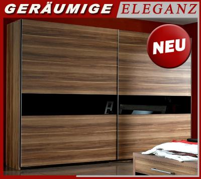 neu 300cm kleiderschrank nussbaum glas schwarz. Black Bedroom Furniture Sets. Home Design Ideas