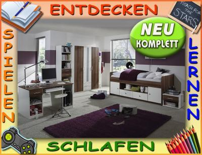 neu* komplett kinderzimmer jugendzimmer 5tlg-set weiß - nussbaum ... - Kinderzimmer Nussbaum Weis
