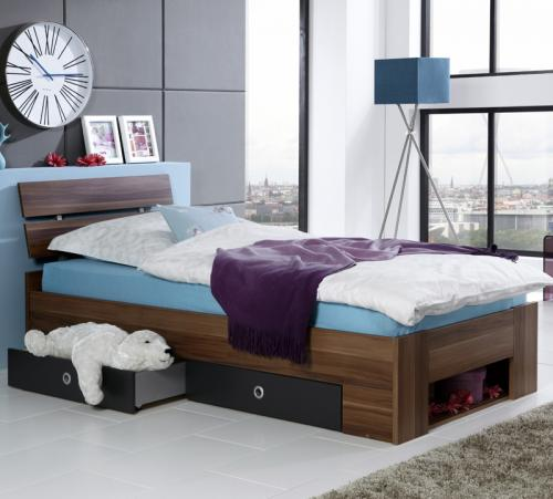 kinderzimmer bett jugendbett kinderbett nussbaum wei anthrazit 90x200 ebay. Black Bedroom Furniture Sets. Home Design Ideas