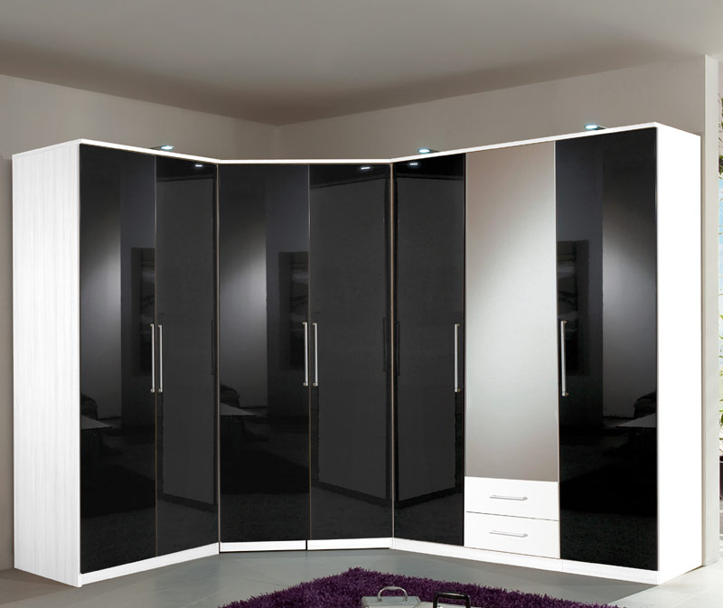 eckkleiderschrank wei hochglanz schwarz schlafzimmerschrank eck kleiderschrank ebay. Black Bedroom Furniture Sets. Home Design Ideas