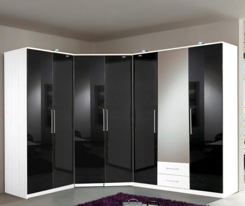 neu eckkleiderschrank weiss hochglanz schwarz schlafzimmer. Black Bedroom Furniture Sets. Home Design Ideas
