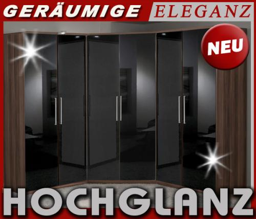 neu eckkleiderschrank hochglanz schwarz nussbaum. Black Bedroom Furniture Sets. Home Design Ideas